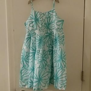 Turquoise and white summer dress